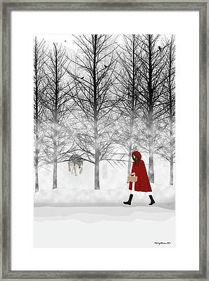 Framed Print featuring the digital art Little Red by Nancy Levan