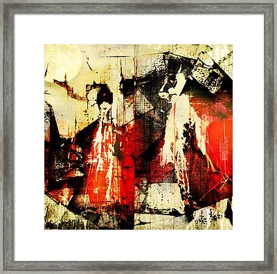 Little Red Riding Hood And The Big Bad Wolf Under A Yellow Moon Framed Print by Jeff Burgess