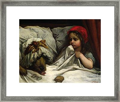 Little Red Riding Hood Framed Print by Gustave Dore