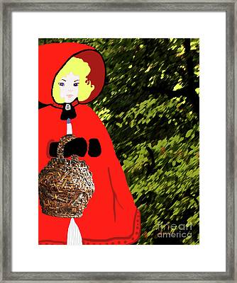 Little Red Riding Hood In The Forest Framed Print