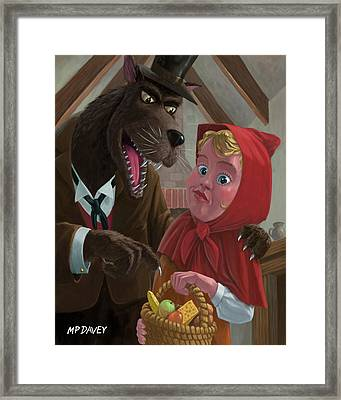 Little Red Riding Hood With Nasty Wolf Framed Print by Martin Davey