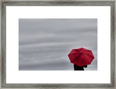 Little Red Umbrella In A Big Universe Framed Print