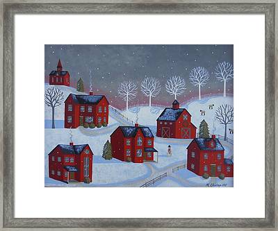 Little Red Village Framed Print by Mary Charles
