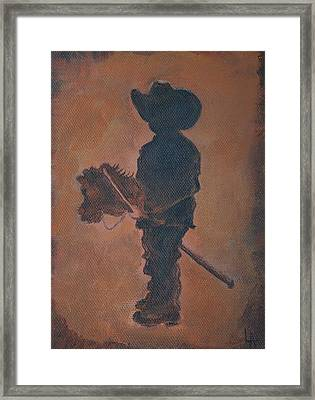 Framed Print featuring the painting Little Rider by Leslie Allen