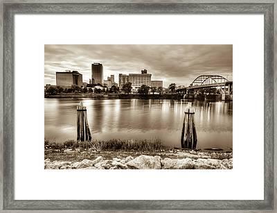 Little Rock Arkansas Vintage Sepia Skyline Framed Print