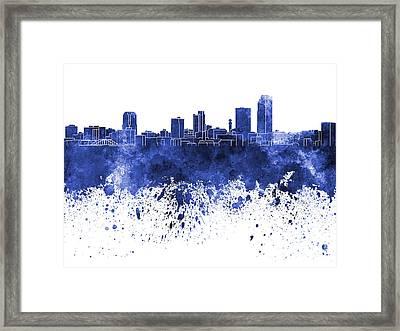 Little Rock Skyline In Blue Watercolor On White Background Framed Print by Pablo Romero