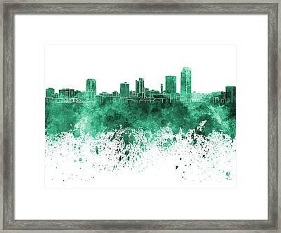 Little Rock Skyline In Green Watercolor On White Background Framed Print by Pablo Romero