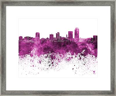 Little Rock Skyline In Pink Watercolor On White Background Framed Print by Pablo Romero
