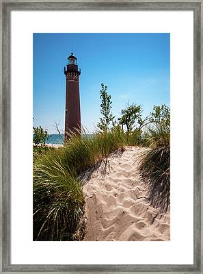Framed Print featuring the photograph Little Sable Light Station - Film Scan by Larry Carr