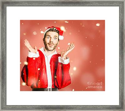 Little Santa Helper Spreading Christmas Cheer Framed Print by Jorgo Photography - Wall Art Gallery