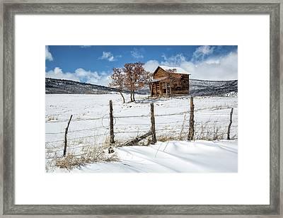 Little Shack In Winter Framed Print