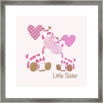 Little Sister Cute Baby Giraffes And Hearts Framed Print