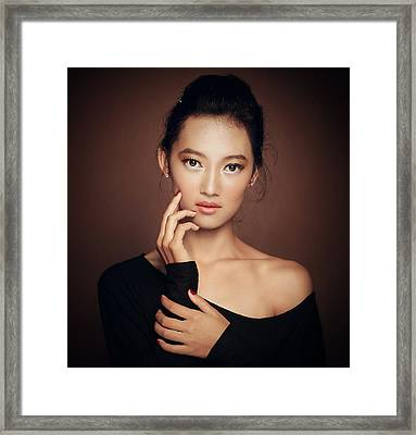 Little Smile From Karin Framed Print by Azalaka