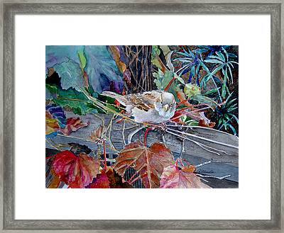 Framed Print featuring the painting Little Sparrow by Gail Chandler