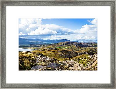 Framed Print featuring the photograph Little Stream Running Down The Macgillycuddy's Reeks by Semmick Photo