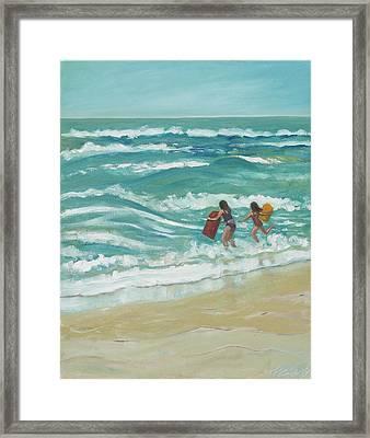 Little Surfers Framed Print