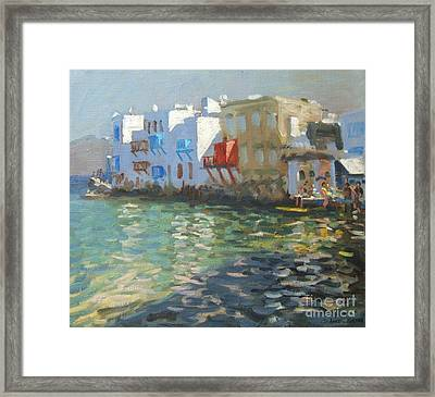Little Venice Mykonos Framed Print by Andrew Macara
