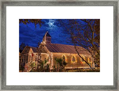 Little Village Church With Star From Heaven Above The Steeple Framed Print by Bonnie Barry
