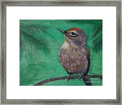 Framed Print featuring the painting Little Warbler by Leslie Allen