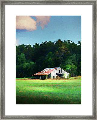 Little White Barn Framed Print