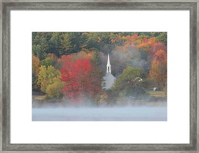 Little White Church Autumn Fog Framed Print by John Burk