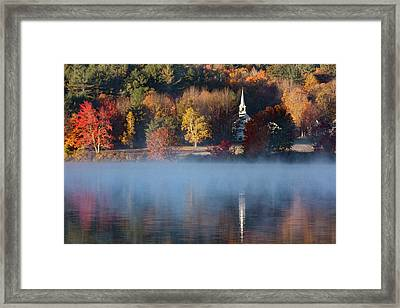 Framed Print featuring the photograph Little White Church On Crystal Lake by Jeff Folger