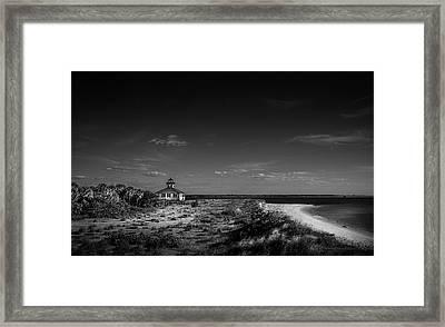 Little White Lighthouse Bw Framed Print