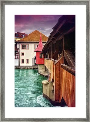 Little Wooden Bridge In Lucerne Switzerland  Framed Print