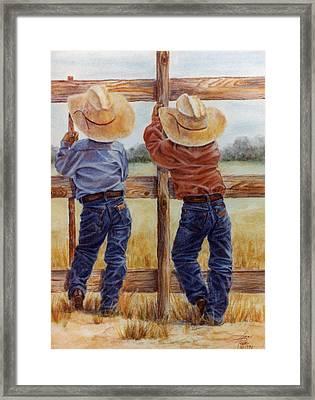 Little Wranglers Framed Print