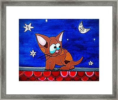 Littler On The Roof Framed Print by Laura Brightwood