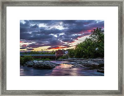 Littleton Sunset On The Rocks Framed Print