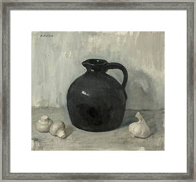 Litttle Brown Jug, Mushrooms And Garlic Framed Print