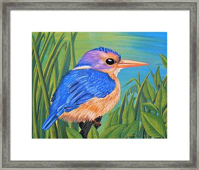 Framed Print featuring the painting Litttle King Of The Fishers by Sophia Schmierer