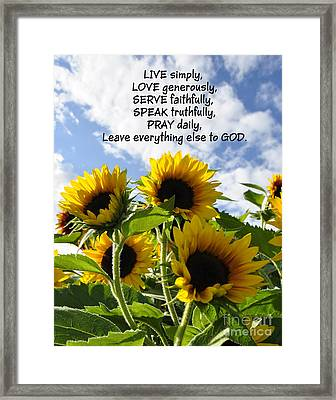 Live Love Serve Framed Print
