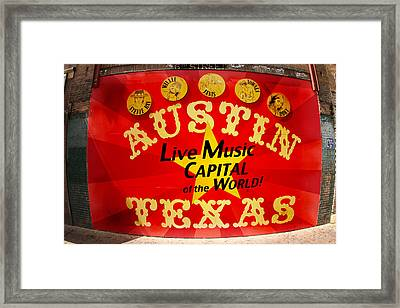 Live Music Mural Of Austin Framed Print by Andrew Nourse