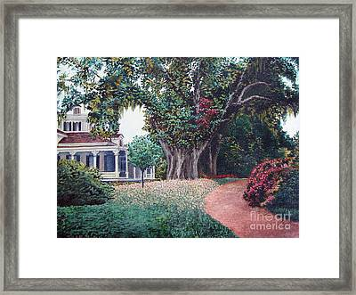 Framed Print featuring the painting Live Oak Gardens Jefferson Island La by Todd Blanchard