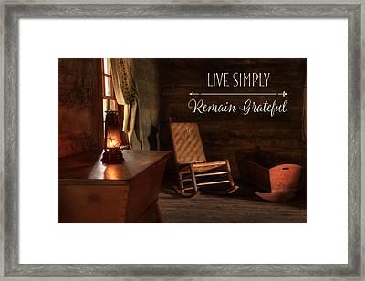 Live Simply Framed Print by Lori Deiter