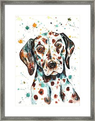 Framed Print featuring the painting Liver-spotted Dalmatian by Zaira Dzhaubaeva