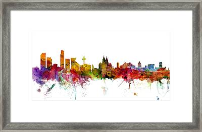 Liverpool England Skyline Panoramic Framed Print by Michael Tompsett