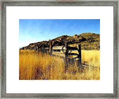 Livery Fence At Dripping Springs Framed Print by Kurt Van Wagner