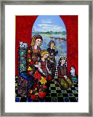 Liz Combing Madeline In Portsmouth Framed Print by Marilene Sawaf