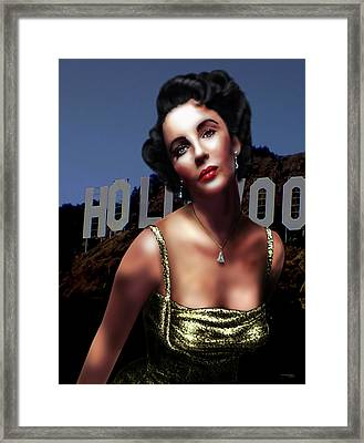 Liz Taylor Framed Print by Virginia Palomeque