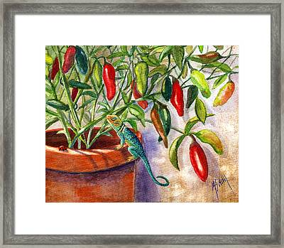 Lizard In Hot Sauce Framed Print by Marilyn Smith