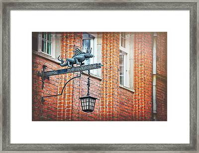Lizard Street Lamp In Gdansk Poland  Framed Print