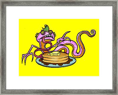 Lizard V. Pancakes Framed Print by Christopher Capozzi