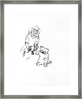 Lizzy Puts Collar On Charles Framed Print