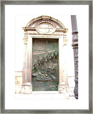 Ljubljana Bronze Church Door Framed Print