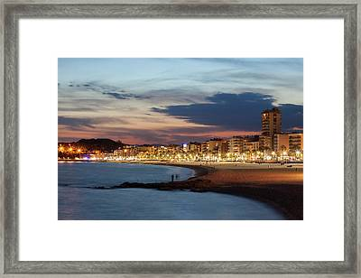 Lloret De Mar Skyline And Beach At Dusk Framed Print by Artur Bogacki