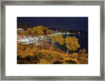 Lloret De Mar Town At Night In Spain Framed Print by Artur Bogacki