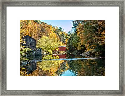 Mcconnell's Mill And Covered Bridge Framed Print